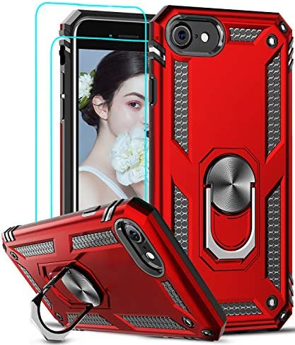 LeYi Compatible for iPhone SE 2020 Case with [2Pack] Tempered Glass Screen Protector, [Military-Grade] Protective Phone Case with Magnetic Ring Kickstand for iPhone SE 2nd Generation (2020), Red