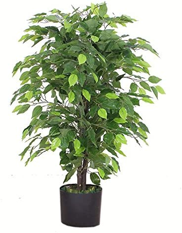 Leaf Design  90cm Artificial Ficus Tree/Plant-Large Bushy Shape Black Plastic Pot