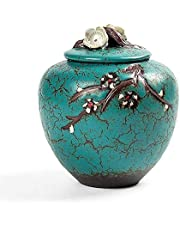 XSWZAQ Mini Cremation Urn Burial Ceramic Classic Souvenir Urn, Hand-Made And Affordable Mini Urn, Suitable For Human Or Pet A Small Amount Of Ashes (Size : Medium)