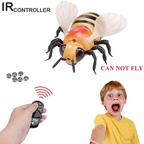 Giveme5 Realistic RC Bee Toy, Infrared Remote Control Mock Fake Bee Giant Honeybee RC Novelty Toy Model Prank Insects Joke Scary Trick Bugs for Party Favors (Giant Bee-Yellow) - CAN NOT Fly