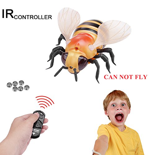 Realistic RC Bee Toy, Giveme5 Infrared Remote Control Mock Fake Bee Giant Honeybee RC Novelty Toy Model Prank Insects Joke Scary Trick Bugs for Party Favors (Giant Bee - Yellow) - CAN NOT FLY (Fake Jumbo)