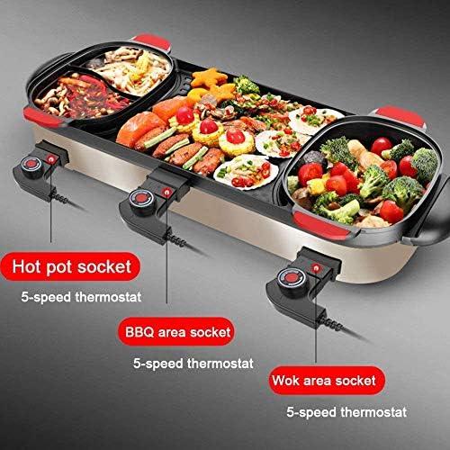 XMYL Grill Électrique avec Pot Double Chaud, Multifonction Barbecue Shabu-Shabu, 3 Contrôle De La Température, 900 + 1200 + 900W, Separatepot