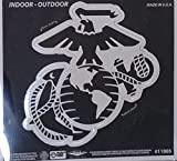 Marines DECAL Large 12'' Silver Metallic Vinyl Auto Decal United States marine Corp Military