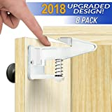 Cabinet Locks Child Safety Latches - Easy Install Adhesive - [2018 UPGRADED] - Baby Proofing Kitchen Drawers, Cabinets, Closets - No Tools, Drilling, or Measuring 8 Pack (White)