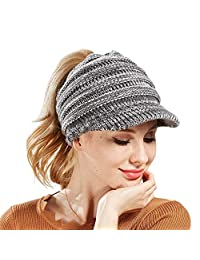 Women Hat Knit Skull Beanie Winter Outdoor Runner Messy Bun Ponytail Cap Adjustable