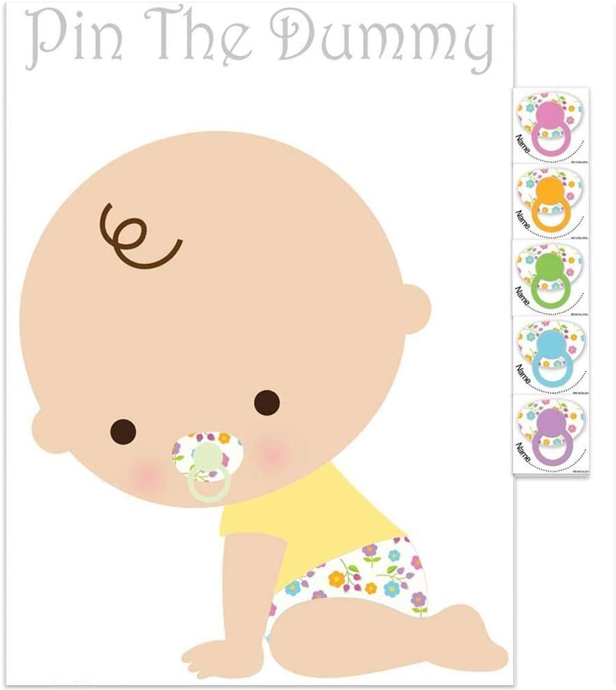 40 Player Pin the Dummy on the Baby Baby Shower Party Game Blue Boy