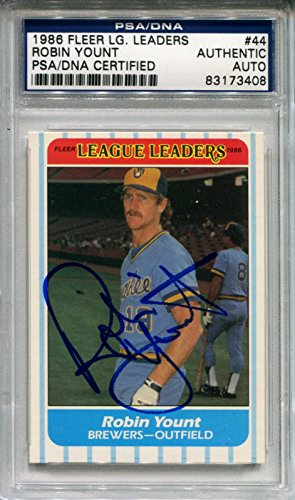 Autographed Robin Yount Photo - 1986 Fleer League Leaders Card Slabbed HOF - PSA/DNA Certified - Baseball Slabbed Autographed Cards