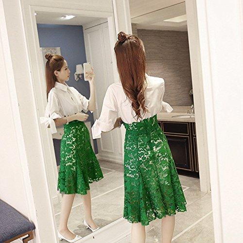 Del Encaje De Mariposa Primavera Traje Dos Solapa De Piezas Vestido ZHUDJ De Vestido Señoras Camisa Encaje Manguito green Señorita De Gancho Flor pwqtn0