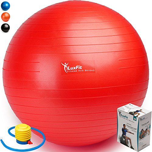 Exercise Ball, LuxFit Premium EXTRA THICK Yoga Ball '2 Year Warranty' - Swiss Ball Includes Foot Pump. Anti-Burst - Slip Resistant! 45cm, 55cm, 65cm, 75cm, 85cm Size Fitness Balls (Red, 75cm)