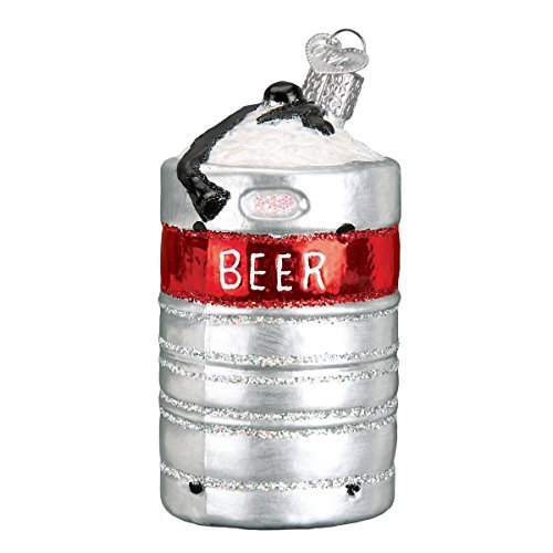 (Old World Christmas Glass Blown Ornament with S-Hook and Gift Box, Drinking Collection (Aluminum Beer Keg))