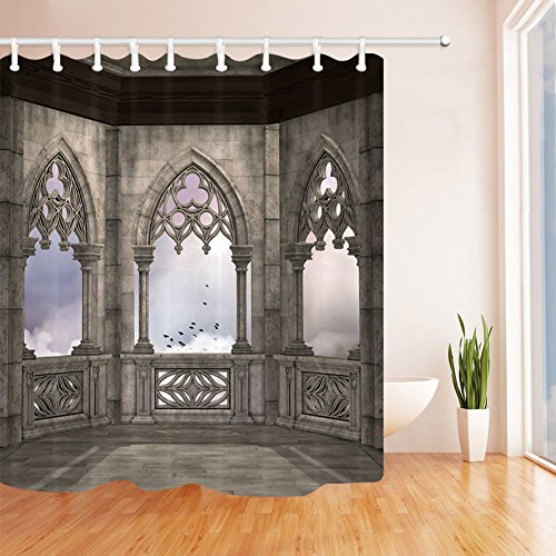 QCWN Ancient Gothic Decor Shower Curtains Medieval Castle Baroque Design Waterroof Bathroom Shower Curtain Decor with Free Hooks (1, - Curtain Castle