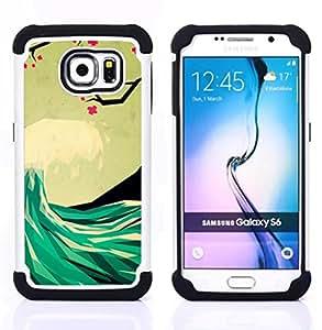 """Pulsar ( Poli Art Surf Hawaii Mar"""" ) Samsung Galaxy S6 / SM-G920 SM-G920 híbrida Heavy Duty Impact pesado deber de protección a los choques caso Carcasa de parachoques [Ne"""