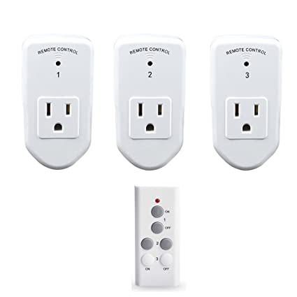 Wireless Remote Control Outlet Light Switch, Electrical Power Socket Plug  for Home Appliances Remote Control Outlet Plug -3 Pack with 1 Remotes by