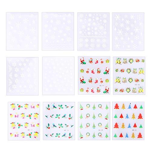 発生器誤解不平を言うBESTOYARD 12枚のシート3DクリスマスネイルアートステッカーSnowflake Decalsマニキュアネイルデコレーション