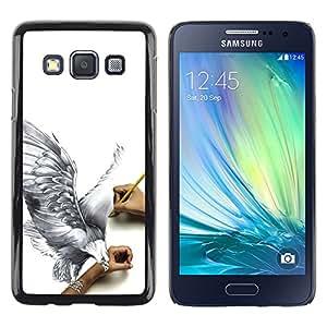 QCASE / Samsung Galaxy A3 SM-A300 / águila arte dibujo a lápiz 3d mosca grande de aves / Delgado Negro Plástico caso cubierta Shell Armor Funda Case Cover