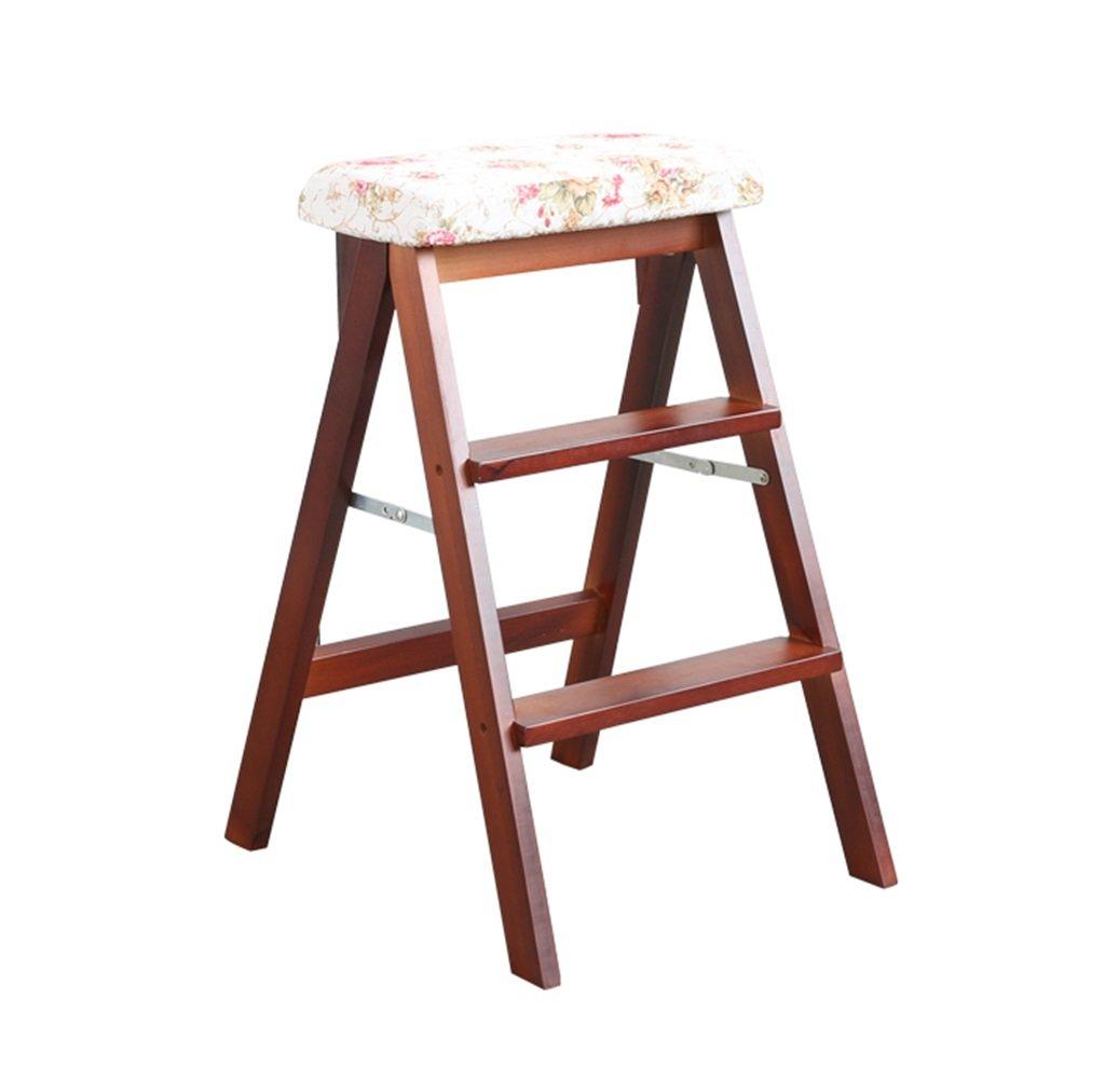 ZRXian-Klappstühle Massivholzleiter Hocker Folding Fold Up braun Hocker-Bein Schritte Hocker Mode Multifunktionale Holzküche Büro Verwendung Leiter Stuhl mit 3 Schritten