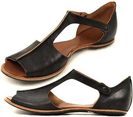 BURFLY Retro T Bar Flats Sandals Shoes