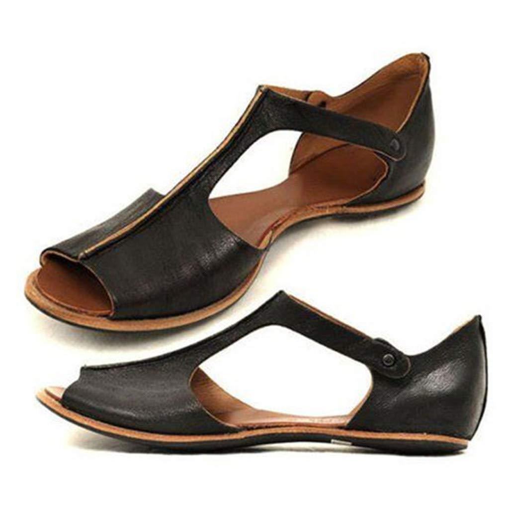 Sanyyanlsy Women Peep Toe Slip On Flat Sandal Ankle Low Heel Loafers Shallow Rivet Summer Outside Wear Basic Roman Boots Black by Sanyyanlsy