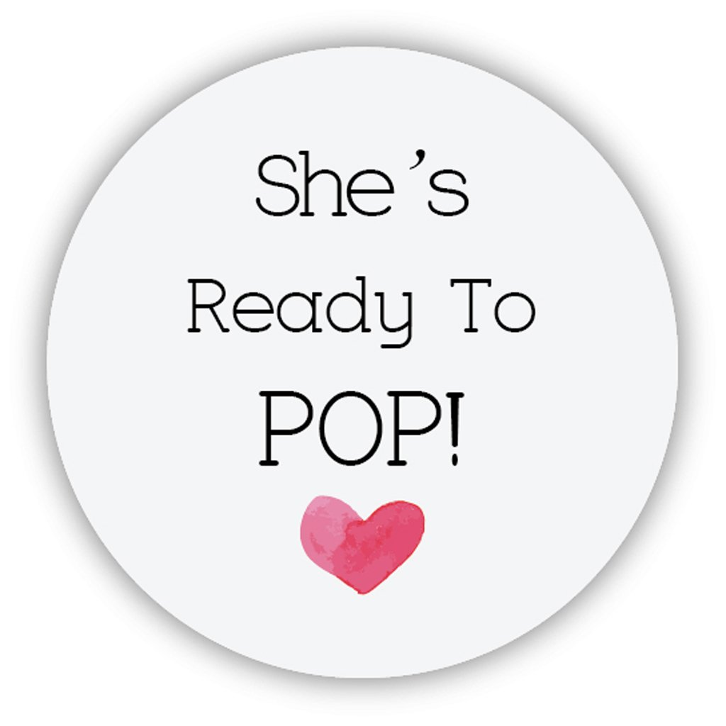 48x Liebe Herz Baby Shower She S Ready To Pop Stickers Popcorn