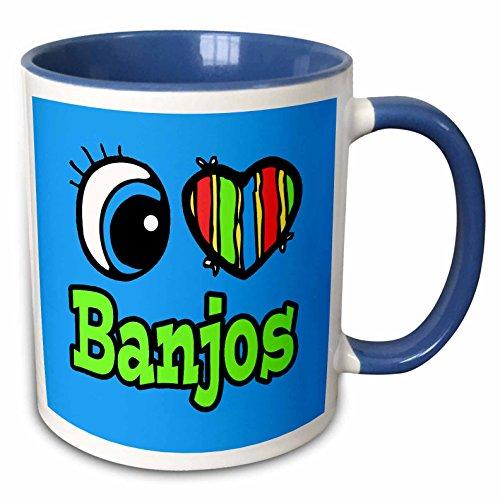 3dRose Dooni Designs Eye Heart I Love Designs - Bright Eye Heart I Love Banjos - 15oz Two-Tone Blue Mug (mug_105736_11)