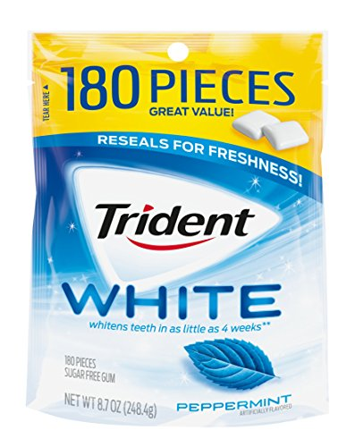 Trident White Sugar Free Gum, Peppermint, 180 Count ()