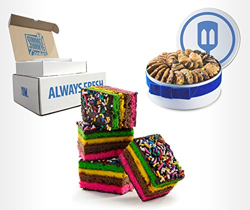 Fresh Baked Rainbow Cookies | Gimmee Jimmy's Cookies- 2 Pounds of Authentic Rainbow Cookies in a Beautiful Gift Tin