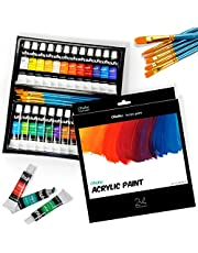 24 Colors Acrylic Paint Set with 6 Painting Brushes, Ohuhu Acrylic Painting Tubes, Artist's Acrylic Painting Kit for Stone, Canvas, Wood, Clay