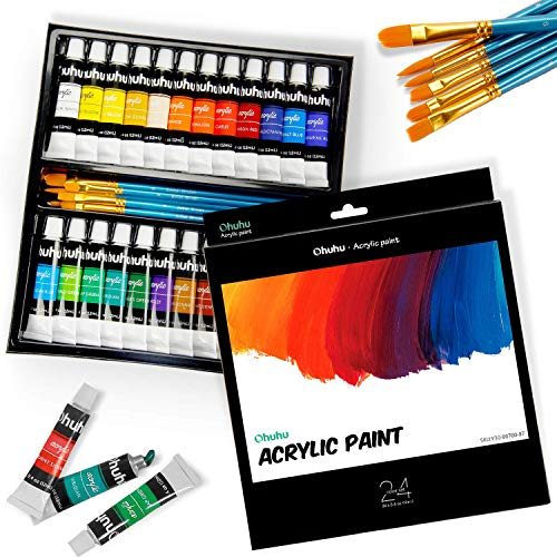 24 Colors Acrylic Paint Set with 6 Painting Brushes, Ohuhu Acrylic Painting Tubes, Artist's Acrylic Painting Kit for Stone, Canvas, Wood, Clay, Fabric, Nail Art, Ceramic, Crafts, 12ml x 24 Tubes