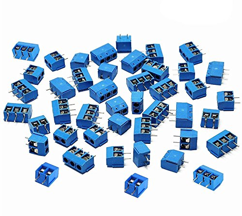 SamIdea 2 Pin 3 Pin PCB Mount Screw Terminal Block Connectors,Socket Strips 5.08mm Pitch for Arduino (Pack of 60pcs)
