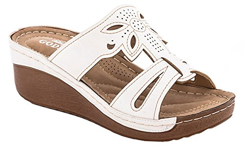 Lady Godiva Laser Cut-Out Detail Open Toe Comfort Platform Wedge Slip-On Sandals