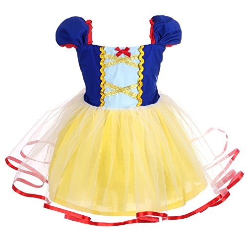 (Dressy Daisy Girls Princess Snow White Dress Costumes for Little Girls Halloween Fancy Party Dress Size 5/6)