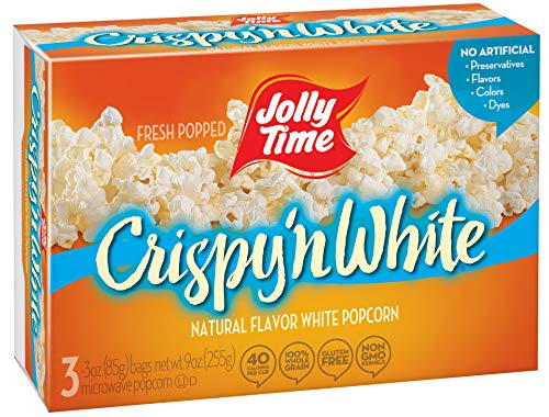 Jolly Time Crispy 'n White - Natural Light & Fluffy Whole Grain Microwave Popcorn, 3-Count Boxes (Pack of 12) -