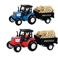 HK Toys Pull Back Unbreakable Tractor and Trolly Toy for Kids (Multicolor)