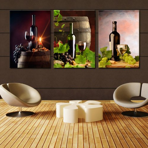 WINE & BARREL & BOTTLE ready to hang 3 panel (Panel Ready Glass)