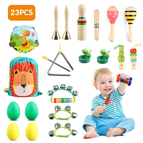 Wooden Musical Percussion Instruments Set,Preschool Education Learning Musical Toys for Boys Girls,23PCS 12Types Multifunctional Wooden Instruments Toys with Bright Colours for Toddlers Kids