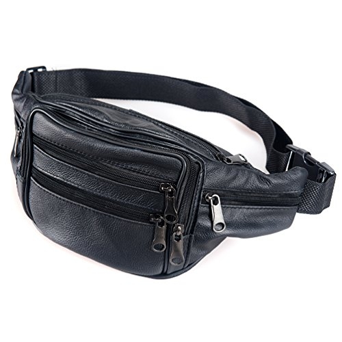 Waist Pack Cowhide Leather Large Size 7 Pockets Fanny Pack Black