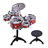 Muslady Children Kids Jazz Drum Set Kit Musical Educational Instrument Toy 5 Drums + 1 Cymbal with Small Stool Drum Sticks for Boys Girls
