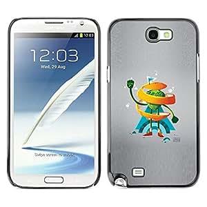 // PHONE CASE GIFT // Duro Estuche protector PC Cáscara Plástico Carcasa Funda Hard Protective Case for Samsung Note 2 N7100 / Naranja del remolino de Hombre /