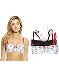 Push Up Balconette Bras For Women - Solid Print Lace (Pack Of 3)