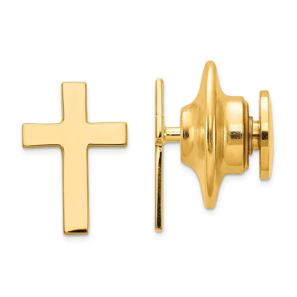 Solid 14k Yellow Gold Cross Polished Tie Tac