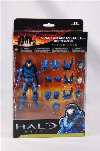 Halo Reach Series 4 Spartan Air Assault Figure & 3 Sets Of Armor - Team Blue Action Figure -