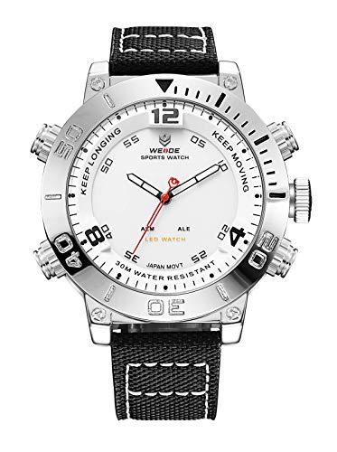 WEIDE Men Analog Digital Watch Waterproof LED Quartz Dual Time Watches for Men (White) Dual Time Quartz Watch