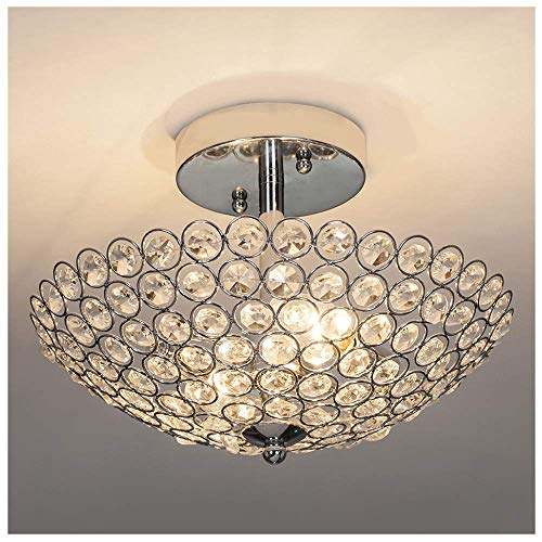GLANZHAUS Modern 2 Lights 11.8 Inches Bowl Shaped Chrome Finish Crystal Flush Mount Ceiling Light, Crystal Chandelier for Living Room Bedroom
