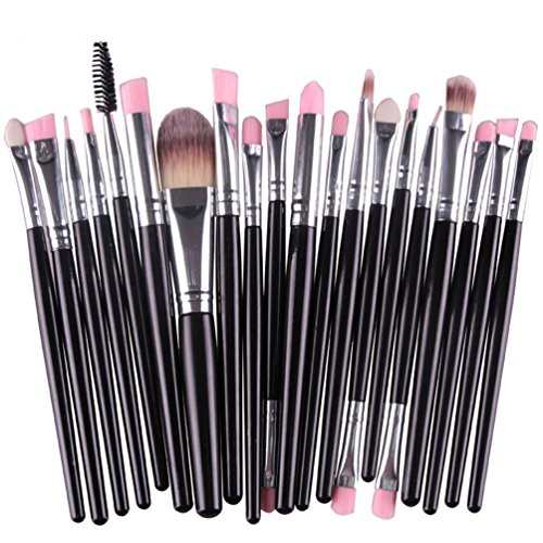 KOLIGHT 20 Pcs Pro Makeup Set Powder Foundation Eyeshadow Eyeliner Lip Cosmetic Brushes (Black+Silver)