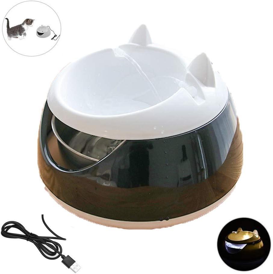 LIANGZHI Dispensador automático de tazón de Agua para Gatos, Fuente de Agua Luminosa para Mascotas Dispensador de Agua eléctrico USB Ciclo Tazones para Beber, Lavable, 1.5LBlack