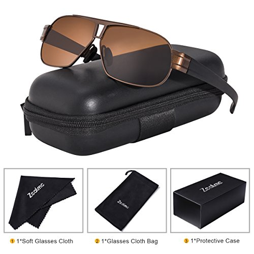 Zealme Polarized Aviator Sports Lightweight Durable Unbreakable Frame Anti Glare Baseball Cycling Fishing Golf Running Bicycle Motorcycle Hiking Sunglasses (Coffee) - Plastic Sunglasses Personalized