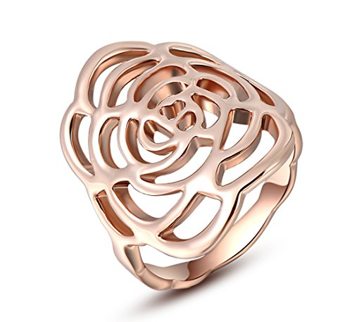 Fashion Month Vintage Hollowed out Flower Design Rose Gold Cocktail Band Ring Size 5 to 9