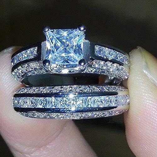 Waldenn White Sapphire Princess Cut CZ 925 Silver Womens Engagement Ring Sets Size 6-10 | Model RNG - 26781 | - Carter Vanity Light