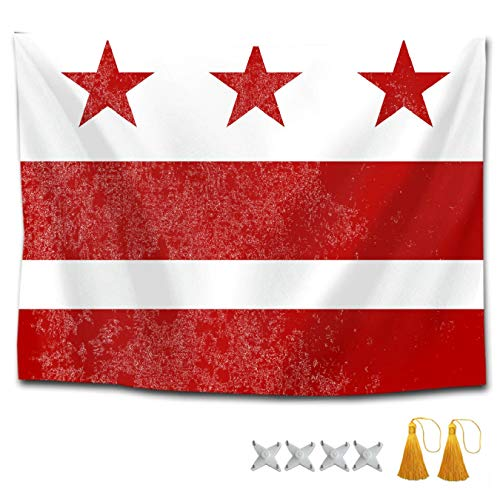 CXLETTI Bohemian Tapestry Washington Dc Flag Wall Hangings Wall Decor,40x60 inches Multipurpose Tapestries Bed Cover/Table Cloth/Picnic Blanket/Couch Cover/Bedspread