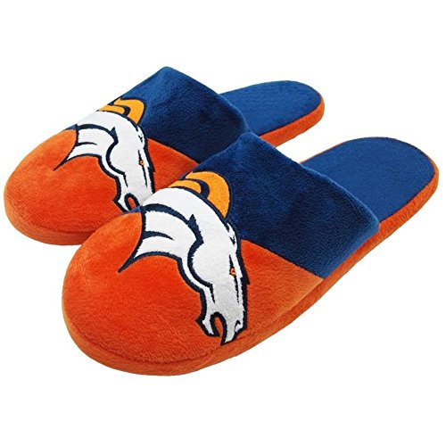 Forever Collectibles Officially Licensed NFL Team Logo Color Block Slide Style Slippers Assorted Teams and Sizes (Extra Large (Shoe Size 13-14), Denver Broncos) (Broncos Denver Collectibles)